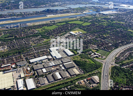 aerial view of Beckton Retail Park & London Industrial Park, Beckton, London E6 looking south towards London City - Stock Photo