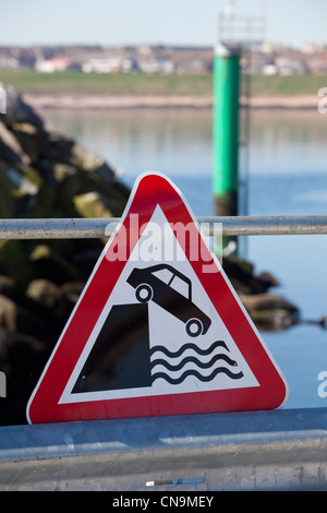 Deep water warning sign on quayside. Peterhead Harbour Scotland UK - Stock Photo