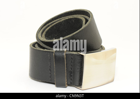 mens belt black leather with silver buckle clasp taken on a white background - Stock Photo