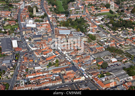 aerial view of Driffield in East Yorkshire, looking up Middle Street South & North - Stock Photo
