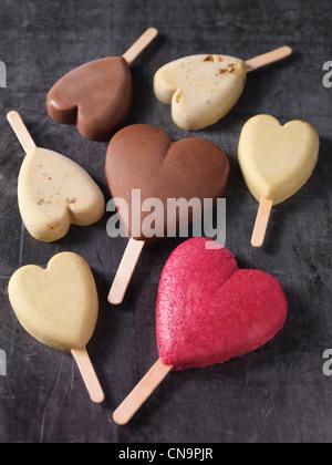 Heart-shaped ice cream bars - Stock Photo