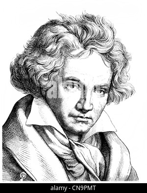 Historical drawing, 19th century, Ludwig van Beethoven, 1770 -1827, a German composer of the First Viennese School - Stock Photo