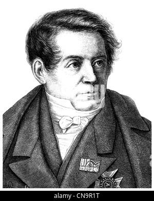 August Wilhelm von Schlegel, 1767 - 1845, a German literary historian, translator, writer, philosopher and Indologist - Stock Photo