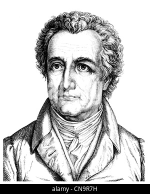 Historical drawing, 19th century, Johann Wolfgang von Goethe, 1749 - 1832, a German poet, - Stock Photo