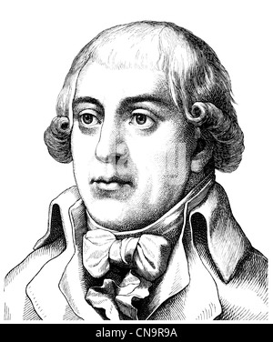 Gottfried August Buerger, 1747 - 1794, a German poet of the Enlightenment, author of The Adventures of Baron Munchausen - Stock Photo
