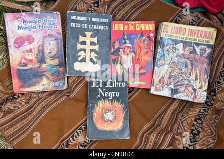 Peru, Cuzco province, Huasao, listed as mystic touristic village, books for the rituals of shamans (curanderos) - Stock Photo