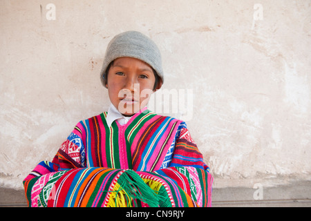 Peru, Cuzco province, Huasao, listed as mystic touristic village, Manuel, shaman (curandero) 9 years old - Stock Photo