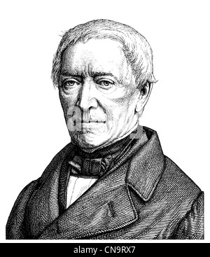 Historical drawing, Friedrich Ludwig Georg von Raumer, 1781 - 1873, a German historian and politician - Stock Photo