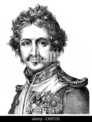 Historical drawing, Ludwig I, King of Bavaria, 1786 - 1868, a German Prince of the House of Wittelsbach - Stock Photo