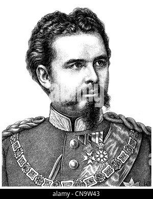 Historical drawing, 19th century, Ludwig II Otto Friedrich Wilhelm von Bavaria, 1845 - 1886, King of Bavaria, Germany - Stock Photo