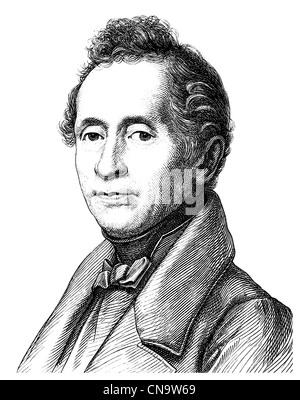 Historical drawing, Joseph Karl Benedikt Freiherr von Eichendorff, 1788 - 1857, a poet and writer of German Romanticism - Stock Photo