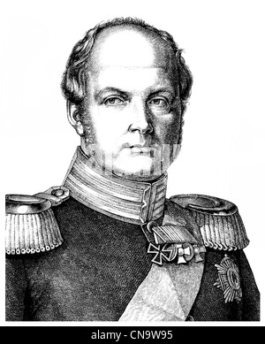 Historical drawing, 19th century, Frederick William IV, 1795 - 1861, King of Prussia - Stock Photo