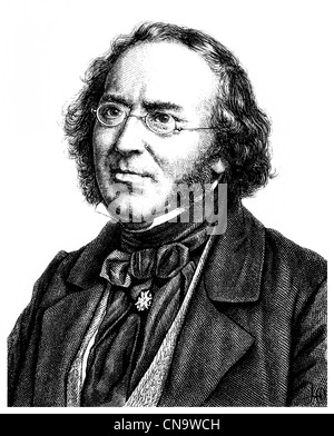 Historical drawing, 19th century, Ludwig Bechstein, 1801 - 1860, a German writer, librarian and archivist - Stock Photo