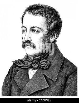 Nikolaus Lenau or Nikolaus Franz Niembsch Edler von Strehlenau, 1802 - 1850, an Austrian writer of the Biedermeier - Stock Photo