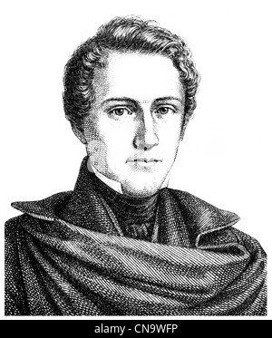 Historical drawing, 19th century, Wilhelm Hauff, 1802 - 1827, a German writer of the Romantic era - Stock Photo