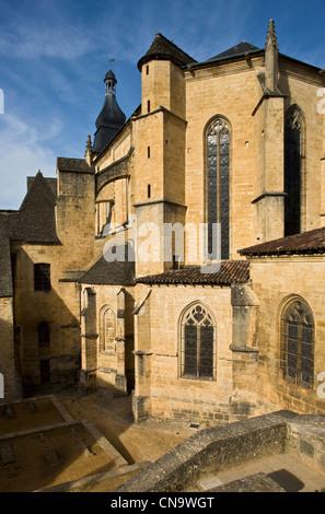 France, Dordogne, Black Perigord, Sarlat la Caneda, Chevet of Saint Sacerdos, old cathedral