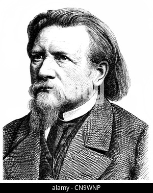 Historical drawing, 19th century, Karl Ferdinand Gutzkow, 1811 - 1878, a German writer, playwright and journalist, - Stock Photo
