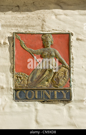 Close up of county fire mark on wall of building York North Yorkshire England UK United Kingdom GB Great Britain - Stock Photo