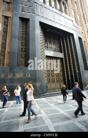 Brazil, Sao Paulo, 1930s business district, Banco de Sao Paulo - Stock Photo