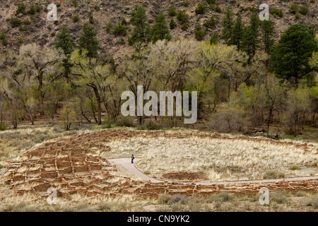 Ruins and ancient native American dwellings at Bandelier National Monument, New Mexico. - Stock Photo