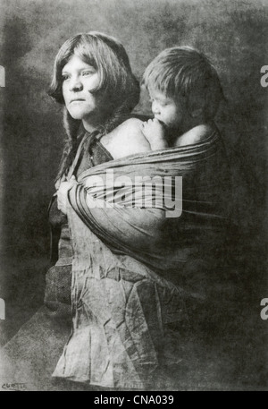 Old photo of Hopi mother and child, c. 1900, - Stock Photo