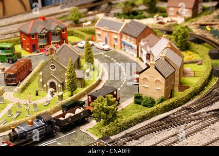 Model railway village - Stock Photo