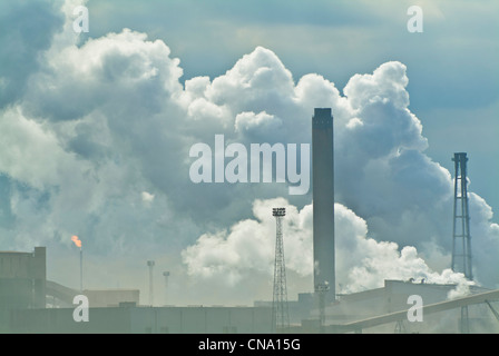 Steam and smoke from the steel works at Redcar North Yorkshire northumbria border England UK GB EU Europe - Stock Photo