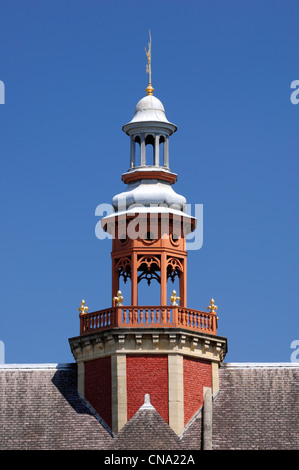 France, Nord, Lille, bell tower above the roof of the old stock exchange - Stock Photo