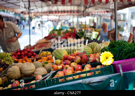 Bamberg town, market stall with fresh vegetables and fruit in the street - Stock Photo