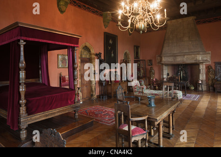 France, Lot, Prudhomat, The castle of Castelnau Bretenoux Apartments Moulie rat John, tenor of the Opera Comique - Stock Photo