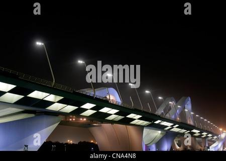 The Sheikh Zayed bridge, designed by Zaha Hadid, in Abu Dhabi - Stock Photo