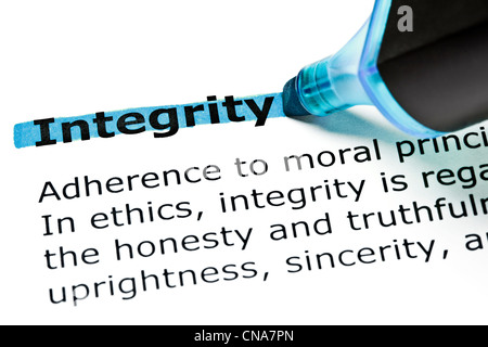 The word Integrity highlighted in blue with felt tip pen - Stock Photo