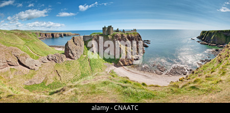 Panoramic Shot of Dunnottar Castle on the North East coast of Scotland near Stonehaven in Aberdeenshire. - Stock Photo