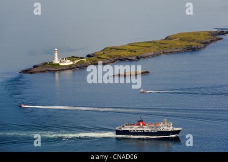 United Kingdom, Scotland, Highland, Inner Hebrides, Loch Linnhe, Isle of Lismore lighthouse east of Mull, ferry - Stock Photo