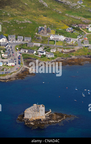 United Kingdom, Scotland, Outer Hebrides, Isle of Barra (aerial view) - Stock Photo