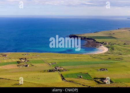 United Kingdom, Scotland, Highland, the east coast of Caithness north of Wick, farms around Freswick Bay (aerial - Stock Photo