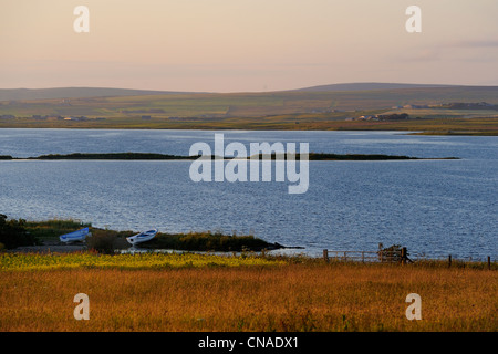 United Kingdom, Scotland, Orkney Islands, Mainland Island, the Loch of Stenness - Stock Photo