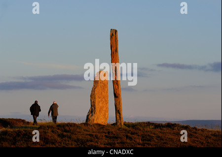 United Kingdom, Scotland, Orkney Islands, Mainland Island, Loch of Stenness, standing stones (stone circle) from - Stock Photo
