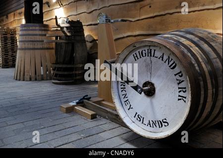 United Kingdom, Scotland, Orkney Islands, Kirkwall, Highland Park whisky distillery, barrels preparation - Stock Photo