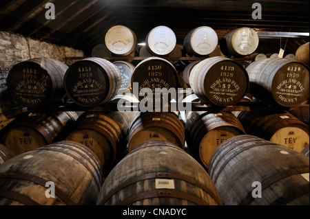 United Kingdom, Scotland, Orkney Islands, Kirkwall, Highland Park whisky distillery, storage of the barrels for - Stock Photo