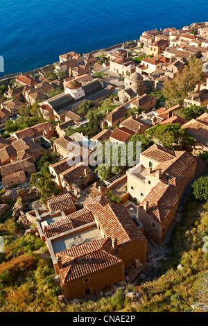 Arial view of Monemvasia ( Μονεμβασία ) Byzantine Island castle town with acropolis on the plateau. Peloponnese, - Stock Photo