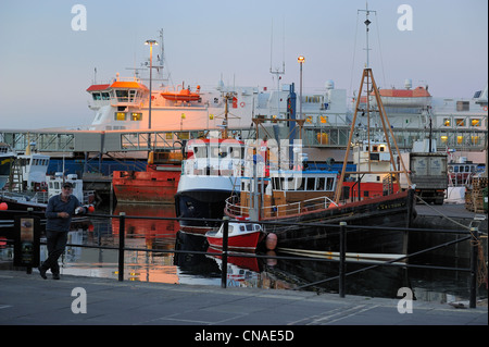 United Kingdom, Scotland, Orkney Islands, Mainland Island, port of Stromness - Stock Photo