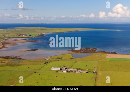 United Kingdom, Scotland, Orkney Islands, Mainland Island, fields and scattered farms along the Deer Sound (aerial - Stock Photo