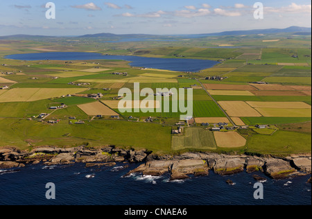 United Kingdom, Scotland, Orkney Islands, Isle of Mainland, fields and scattered farms by the sea at Birsay, the - Stock Photo