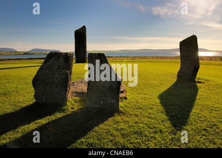 United Kingdom, Scotland, Orkney Islands, Isle of Mainland, Loch of Stenness, Standing Stones of Stenness, listed - Stock Photo