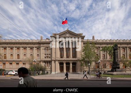 Chilean Supreme Court building; Palace of Justice; Tribunales de Justicia, in Santiago de Chile - Stock Photo