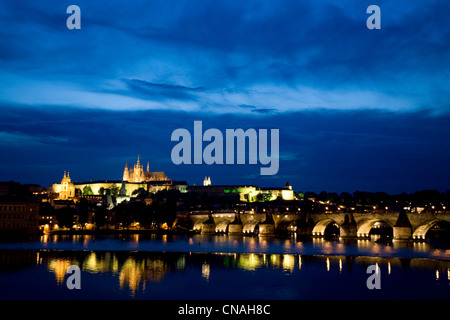 Czech Republic, Prague, historical centre listed as World Heritage by UNESCO, overview of Charles Bridge over Vltava - Stock Photo