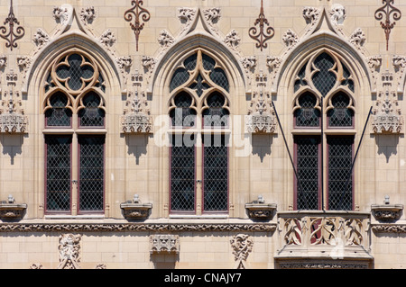 France, Pas de Calais, Arras, Place des Heros, details of the windows of the Town Hall of Arras - Stock Photo