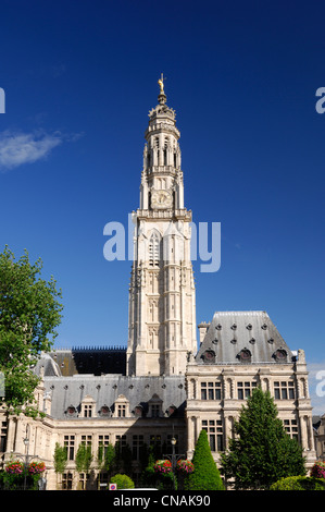 France, Pas de Calais, Arras, Place des Heros, Town Hall of Arras topped with its 77 meters belfry listed as World - Stock Photo