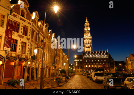 France, Pas de Calais, Arras, Place des Heros, Town Hall of Arras at night topped with its 77 meters belfry listed - Stock Photo